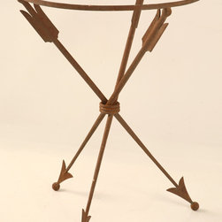 Vintage French Neoclassical Steel Table Base with Arrows - I love how this piece functions beautifully as an end table, but it also has unexpected charm with the arrows used for legs. Quaint and yet intriguing, this piece would be fabulous in a room full of curiosities.
