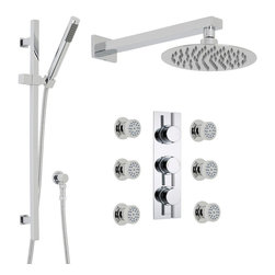 """Hudson Reed - Quest Thermostatic Shower System Set 3 Outlets 8"""" Rain Head Handset Kit 6 Sprays - Add modern style to your bathroom with the Quest shower kit from Hudson Reed, which is supplied complete with six body jets, 8"""" fixed shower head with arm, slide rail kit and the triple thermostatic shower valve."""