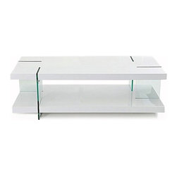 Contemporary high glossy white rectangular coffee table Misaka - Coffee table Misaka has a double level contemporary design. There are two parallel square high glossy white surfaces connected with transparent glass stands. Nice light look.