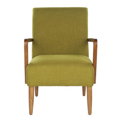 Safavieh - Wiley Arm Chair - Sweet Pea Green - A Danish cool vibe infuses the Wiley arm chair, shown in sweet pea green textured fabric evocative of Madison Avenue office chairs circa 1950. Simple turned-wood legs and bent armrests are crafted from birch and finished in natural oak.
