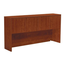 OSP Furniture - 71 in. Storage Hutch w Wood Doors - GREENGUARD Indoor Air Quality Certified. Warranty: Ten years. Made from wood and laminateHutch:. Two storage cabinets. Sturdy 1.13 in. top with tri-groove edge design. Impact-resistant 3 mm PVC edges. Pre-drilled for doors. Wire management cutouts in back panel. Commercial grade. 71 in. W x 15 in. D x 36 in. H (110 lbs.). Assembly InstructionsWood doors:. Set of 4. Scratch-resistant thermally fused laminated surface. Impact-resistant edges. Fits under hutch. Assembly required. 16 in. W x 0.75 in. D x 17 in. H (22 lbs.)