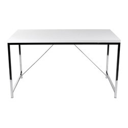 Eurø Style - Gilbert Desk in White and Chrome - The Gilbert Desk by Eurø Style will be a nice addition to your home/office. The desk features high gloss lacquered MDF top supported by sturdy chromed steel base. Available in 2 finishes to suit your needs.