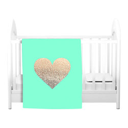 DiaNoche Designs - Throw Blanket Fleece - Gatsby Gold Mint Heart - Original Artwork printed to an ultra soft fleece Blanket for a unique look and feel of your living room couch or bedroom space.  DiaNoche Designs uses images from artists all over the world to create Illuminated art, Canvas Art, Sheets, Pillows, Duvets, Blankets and many other items that you can print to.  Every purchase supports an artist!