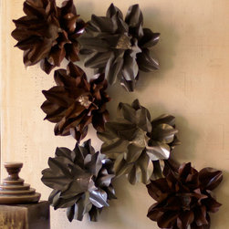 Metal Flower Wall Accent in Rustic Finish - Looking for unique wall art? May we suggest a Metal Flower Wall Accent or two? These rustic chic decorative pieces feature delicate flowers in industrial finishes. Try arranging a few of them together for a striking effect.