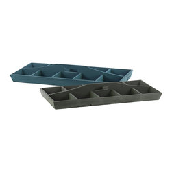 Wood Tray w/ Dividers Two Assorted Colors (Blue and Gray) - *Wood Tray with Dividers with 10 Slots and Hole Handle Assortment of Two Assorted Color (Blue and Gray)