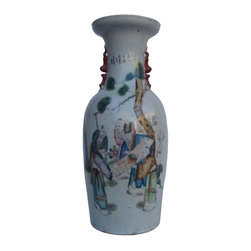 Golden Lotus - Chinese Hand Painted 5 Immortals & Tai Chi Scroll Motif Big Porcelain Vase - You are looking at a Chinese hand painted five immortals reading Tai Chi scroll motif big porcelain vase. This vase is made in the world famous porcelain city Jing De Zhen and has 5 immortals reading Tai Chi scroll in the pine & mountain background traditional hand painting on the body.