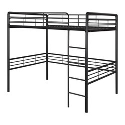 "Dorel Home Products - Full Loft Bed w Round Posts - NOTE: ivgStores DOES NOT offer assembly on loft beds or bunk beds. Includes slat pack. Ideal for teenager's bedroom with limited space. Full size bed on top. Sturdy metal frame and built-in ladder. Provides extra space underneath for sitting area or desk. Warranty: One year. Weight capacity: 300 lbs.. 78 in. L x 57 in. W x 72 in. H (97 lbs.). Assembly Instructions. ""Bunk Bed Warning. Please read before purchase.""Create a room where kids will want to spend all their free time, starting with this metal loft bed which allows them to customize their bedroom space to suit their personal style. The area underneath the loft bed is large enough to let them create their very own den for relaxing, playtime or quiet study area."