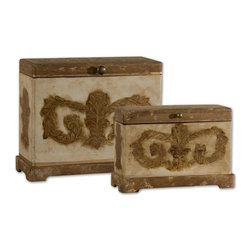 Uttermost - Scotty Wood Boxes, Set/2 - Plantation Grown Mango Wood With Aged Ivory Hand Painted Details. Sizes: Sm-13x9x5, Lg-15x12x7