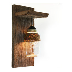 Barn Wood Mason Jar Light Fixture, With Rope Detail - This light fixture is made from reclaimed ...
