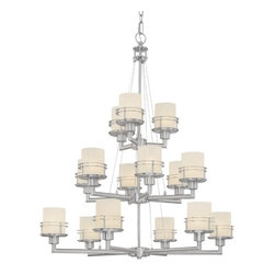 Dolan Designs Lighting - Satin Nickel Chandelier with 15-Lights and Three Tiers - 2033-09 - Simple, modern lines makes for a modern addition to many foyers. Featuring Glacier glass and a Satin Nickel finish. Comes with six-feet of chain and nine-feet of wire. Takes (15) 60-watt incandescent A19 bulb(s). Bulb(s) sold separately. Dry location rated.