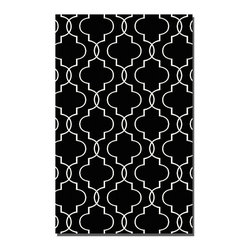 Uttermost - Uttermost Devonshire 8 x 10 Rug - Black 71024-8 - Woven, Over Dyed Black Wool With Off-white Details.