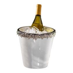 Zodax - White Ceramic Wine Cooler with Starfish Metal Trim by Zodax - White Ceramic Wine Cooler with Starfish Metal Trim by Zodax