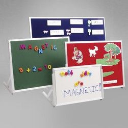 Magnetic Childrens Language Easel - About the Magnetic Language Easel Several sizes and surface choices give wonderful versatility to the Magnetic Language Easel. Easy to carry the lightweight anodized aluminum frame accompanies you to any classroom. Simply attach the snap-on legs and set on the table. The double-sided design lets you choose between several options: 1 Side Magnetic Marker 1 Side Chalkboard 1 Side Magnetic Marker 1 Side Hope and Loop Velcro 1 Side Magnetic Chalkboard 1 Side Hope and Loop Velcro 1 Side Magnetic Marker 1 Side Magnetic Felt For your continued convenience easels come in a variety of sizes.