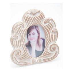 Abigails - Provence Frame, Oval with White Wash Finish - A decorative wooden picture frame finished in a versatile hand applied white wash finish. The oval picture area is complimented by the intricate carving.
