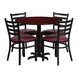 Flash Furniture - Flash Furniture 36 Inch Square Natural Laminate Table Set with 4 Banquet Chairs - No need to buy in pieces, this complete banquet table and chair set will save you time and money! This set includes an elegant Natural Laminate table top, X-Base and 4 black banquet chairs that have a 500 lb. capacity rating to accommodate all users. Use this setup for banquet Halls, Wedding Ceremonies, Hotel Conferences, restaurants, Break Room/Cafeteria settings or any other social gathering. This Commercial Grade table set will last for years to come with its heavy duty construction. [HDBF1011-GG]
