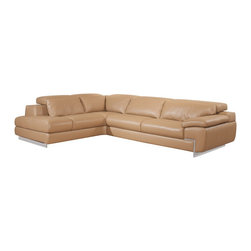 J&M Furniture - Oregon II Mouton Italian Leather Left Hand Facing Sectional Sofa - Being fashionable and stylish sectional in mouton top grain leather, the Oregon II Mouton Italian Leather Left Hand Facing Sectional Sofa features built in lumbar support cushions for unmatched comfort and adjustable head rest with ratchet mechanism. One seat features adjustable depth-as shown. Features: