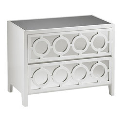 "Inviting Home - White Mirrored Cabinet - mirrored cabinet in lacquered white finish; 36""W x 20""D x 28""H; Rectangular two door cabinet with lacquered white finish. This cabinet has mirrored top two drawers with mirrored panels and openwork design."