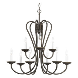 Progress Lighting - Progress Lighting P4669-20 9-Light, 2-Tier Chandelier - No Shade - Progress Lighting P4669-20 9-Light, 2-Tier Chandelier - No Shade with White Candle Sleeves