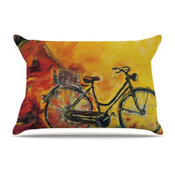 """Kess InHouse - Josh Serafin """"To Go"""" Yellow Bicycle Pillow Case, Standard (30"""" x 20"""") - This pillowcase, is just as bunny soft as the Kess InHouse duvet. It's made of microfiber velvety fleece. This machine washable fleece pillow case is the perfect accent to any duvet. Be your Bed's Curator."""