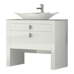 "Macral - Daytona 40"" Bathroom Vanity, White High Gloss - Bathroom vanity 39.3-inches wide and 17.7-inches depth. The price ONLY includes the vanity and the vessel sink. The rest of the items such as the mirror and faucet are not included. This vanity is made in MDF white high gloss lacquered. Suggested for small bathroom or narrow spaces. Two drawers with soft close. The interior of the first drawer have very efficient divisions to give space and order. The second drawer with extra storage. The set includes the vanity and the white ceramic vessel sink. Easy installation. Beautifully coordinates with our Macral mirror as it is shown in the last image, items are sold separately online in our Houzz profile . Made in Spain by Macral."