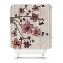 DENY Designs - DENY Designs Valentina Ramos Blossom Shower Curtain - 13564-SHOCUR - Shop for Shower Curtains from Hayneedle.com! With the stunning designer print of the DENY Designs Valentina Ramos Blossom Shower Curtain you can bring a piece of mother nature into the bathroom. Made in America this shower curtain makes bold use of color that you will love. Let your bathroom bloom and bring home this originally designed shower curtain today.About DENY DesignsDenver Colorado based DENY Designs is a modern home furnishings company that believes in doing things differently. DENY encourages customers to make a personal statement with personal images or by selecting from the extensive gallery. The coolest part is that each purchase gives the super talented artists part of the proceeds. That allows DENY to support art communities all over the world while also spreading the creative love! Each DENY piece is custom created as it's ordered instead of being held in a warehouse. A dye printing process is used to ensure colorfastness and durability that make these true heirloom pieces. From custom furniture pieces to textiles everything made is unique and distinctively DENY.