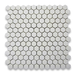 "Stone Center Corp - Thassos White Marble Hexagon Mosaic Tile 1 inch Honed - Thassos white marble 2"" (from point to point) hexagon pieces mounted on 12"" x 12"" mesh tile sheet"