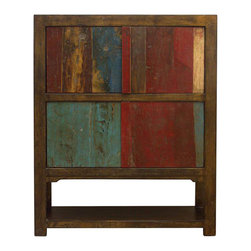 Madera Home - Shelby Gold and Multicolor Cabinet - Our collection of cabinets are built of beautiful elm wood reclaimed from buildings and furniture pieces that graced the eclectic Qing dynasty. Each piece is meticulously hand built and finished by time-honored craftsman utilizing over 120 different processes. They fit perfectly by the side of a sofa, next to the bed, or extra storage in any room.