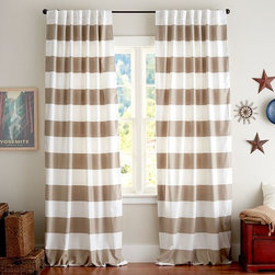 Classic Stripe Drapes, Taupe, Set of 2 - No matter how hard I try to love something different, I don't think I can beat a classic striped drape.