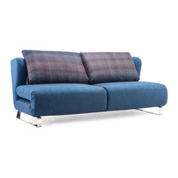 Cowboy Blue Body & Shadow Grid Cushion Conic Sofa Sleeper - This shadow grid cushion sofa sleeper with cowboy blue body by Zuo Modern has an chromed steel finish and is from their Conic collection. It's the perfect sofa sleeper to compliment any living room!