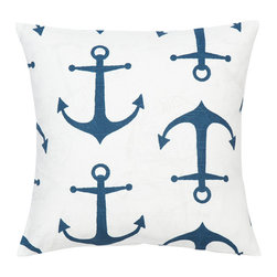 Look Here Jane, LLC - Anchors Navy Pillow Cover - PILLOW COVER