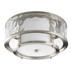 Progress Lighting - Progress Lighting P3942-09 2-Light Flush Mount with Distressed Clear Glass - Progress Lighting P3942-09 2-Light Flush Mount with Distressed Clear Glass Cylinder