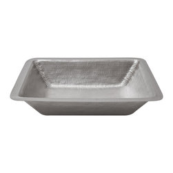 Premier Copper Products - Premier Copper Products LREC19EN Bathroom Under Counter Electroless Nickel Sink - Premier Copper Products LREC19EN Rectangle Under Counter Hammered Copper Bathroom Sink in Electroless Nickel