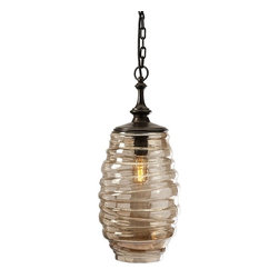"""IMAX - Riva Glass Pendant Light - Traditional hanging lamp design finds a modern context in this striated luster glass and iron pendant light. Hard wired pendant light includes ceiling cap, 97.5"""" cord length and requires 60 Watt Type B or 13 Watt CFL bulb. Item Dimensions: (22""""h x 9""""w x 9"""")"""