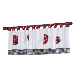Sweet Jojo Designs - Little Ladybug Valance - The Little Ladybug Valance by Sweet Jojo Designs is a gorgeous window treatment that will add a designer's touch to any nursery. This valance softens the look of the window and obscures pulled up blinds. It will coordinate nicely with your Sweet Jojo Designs bedding or can be used as an accent with your own room design.