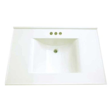 PREMIER - Premier 261347 Cultured Marble Vanity Top, 22 x 31, White - Bring a timeless look into your home with the white cultured marble vanity top. Our vanity tops are pre-drilled for four-inch centerset lavatory faucets, feature a rectangular basin with a no-drip edge, and include a matching backsplash.