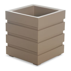 "Mayne Inc. - Freeport Patio Planter 18x18 Clay - Modern design and clean lines is the best way to describe our Freeport planter. This fresh design provides a great finishing touch to your outdoor space.  Perfect for the more urban setting, this planter features a double wall design and sub irrigation watering system making it functional as well as beautiful. Our molded plastic planters are made from high-grade polyethylene, double wall design. Sub-irrigation water system, encourages root growth. Inside dimensions are 13.75""L x 13.75""W x 13.5""D, approximately 8 gallon soil capacity (30 litres), water capacity is approximately is 6.5 gallons (24.5 litres). Water reservoir capacity is approximately 6.5 gallons (24.6 Liters)."