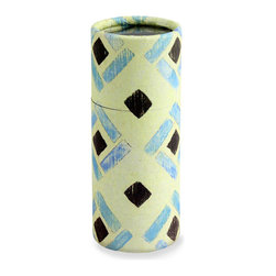 Cylinder Match - French Tile - With a sketchy, graphic pattern in sweet spring colors reminiscent of ikat, the French Tile Cylinder Matches box is a pleasing detail for the transitional home, adding visual pleasure to the corner of a writing desk or the end of a vanity with its attractive diamond designs.  Tuck into a gift basket or leave on a credenza for a sprightly touch of prettiness mixed with practicality.