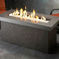 Key Largo Linear Fire Pit - Key Largo Linear Fire Pit with the Midnight Mist top will easily draw your guests closer toward the dancing flame so your outdoor entertaining area remains busy throughout the year. -Mantels Direct
