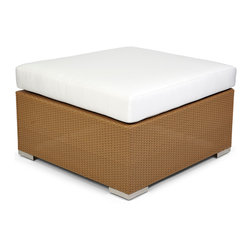 Caluco - 10 Tierra Ottoman - The 10 Tierra Ottoman combines style, durability, and comfort to provide unmatched value in outdoor seating.  Pictured in the moccaccino wicker.