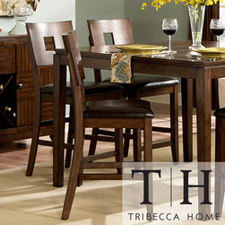 Tribecca Home - TRIBECCA HOME Watson 24-inch Counter Height Chair (Set of 2) - Dine in style with these contemporary counter height chairs. This lovely set of chairs features a walnut inlay and an attractive amber finish. They are also constructed of sturdy Asian hardwood and covered in faux leather for stability and comfort.
