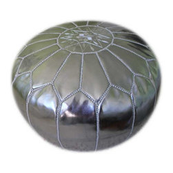 Stuffed Moroccan Pouf Silver - Moroccan Footstool: Fun, sophisticated, and rich, the silver faux leather Moroccan Pouf is a fun way to spruce up a room. Hand-stitched Moroccan poufs make a great ottoman/foot stool. Little ones enjoy them as a seat that's just their size. Enjoy the versatility and color of this classic decor accessory in your home. The Pouf Comes Stuffed.