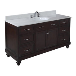 Kitchen Bath Collection - Amelia 60-in Single Sink Bath Vanity (White/Chocolate) - This bathroom vanity set by Kitchen Bath Collection includes a chocolate cabinet, soft close drawers, self-closing door hinges, white marble countertop with stunning beveled edges, single undermount ceramic sink, pop-up drain, and P-trap. Order now and we will include the pictured three-hole faucet and a matching backsplash as a free gift! All vanities come fully assembled by the manufacturer, with countertop & sink pre-installed.