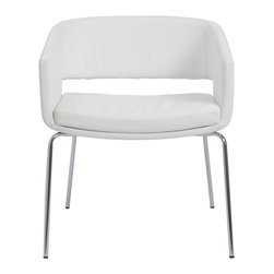 Eurostyle - Amelia Lounge Chairs, White/Chrome, Set of 2 - White leatherette seat and back over foam