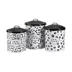 IMAX Worldwide Home - Dog Food Storage Canisters - Set of 3 - This set of three storage canisters are great for storing dog food and treats. The lidded design keeps food fresh. Set includes small, medium and a large size.. Food safe. Material: 100% Iron Sheet. 15.5 in. H x 11.5 in. W x 11.5 in. L. 17 in. H x 12.5 in. W x 12.5 in. L. 19 in. H x 13.75 in. W x 13.75 in. L
