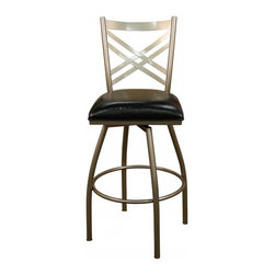 "American Heritage - American Heritage Alexander 24"" Counter Height Stool in Silver - The tubular frame finished in silver makes the Alexander one of our most popular stools. You'll be amazed with the comfort and style the black vinyl seat offers. A perfect choice to compliment your space. What's included: Counter Height Stool (1)."