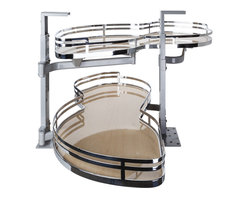 Hardware Resources - Blind Corner Swing Out  Left Handed Unit.  15 Opening - Blind Corner Swing Out  Left Handed Unit. Minimum 15 opening for Frameless or Face Frame Cabinets. Maple laminated non slip shelves with Chrome edging  ships complete with installation instructions.