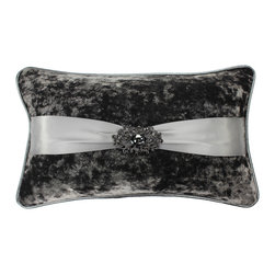 Jackson Morgan - Jackson Morgan Crushed Velvet Rhinestone Brooch Throw Pillow - Sophisticated and elegant,this jeweled pillow will add a sparkle to your bed,sofa,or chaise. Designed with a crushed velvet,silk ribbon,rhinestone brooche,faux leatehr welt and down insert,this pillow feels as luxurious as it looks.