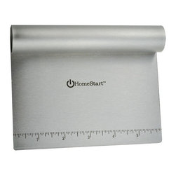 HomeStart - HomeStart Dough Scraper / Cutter / Chopper (Stainless Steel) - A great kitchen tool offering a wide variety of uses, the pastry scraper is mainly designed to scrape and split bread dough as you work with it on a board. It can also be used for scraping, crushing, chopping, and even measuring. Inch increments are listed on the blade for dividing cookie and pastry dough. Durably made with a stainless-steel blade and a wide, comfortable nonslip rubber handle, the tool is comfortable to hold and work with. Cleanup is easy since the scraper is dishwasher safe.