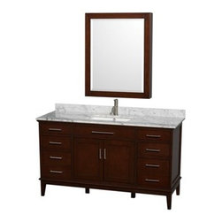 "Wyndham Collection(R) - Hatton 60"" Single Bathroom Vanity by Wyndham Collection - Dark Chestnut - The Wyndham Collection is an entirely unique and innovative bath line. Sure to inspire imitators, the original Wyndham Collection sets new standards for design and construction.Bring a feeling of texture and depth to your bath with the gorgeous Hatton vanity series - hand finished in warm shades of Dark or Light Chestnut, with brushed chrome or optional antique bronze accents. A contemporary classic for the most discerning of customers.Available in multiple sizes and finishes.FeaturesConstructed of environmentally friendly, zero emissions solid Birch hardwood, engineered to prevent warping and last a lifetime12-stage wood preparation, sanding, painting and hand-finishing processHighly water-resistant low V.O.C. sealed finishBeautiful transitional styling that compliments any bathroomPractical Floor-Standing DesignMinimal assembly requiredDeep Doweled DrawersFully-extending under-mount soft-close drawer slidesConcealed soft-close door hingesCounter options include Ivory Marble and White Carrera Marble Counter includes 3"" backsplashAvailable with Porcelain undermount sink(s)Oval sink(s) available with pre-drilled 8"" Widespread 3-Hole faucet mountsSquare sink(s) available with pre-drilled Single-Hole faucet mounts. Additional holes may be drilled by customer on site.Faucet(s) not includedMetal exterior hardware with brushed chrome finishOptional metal exterior hardware with antique bronze finishTwo (2) functional doorsSix (6) functional drawersPlenty of storage spaceVariations in the shading and grain of our natural stone products enhance the individuality of your vanity and ensure that it will be truly uniquePlenty of counter spaceHow to handle your counterSpec Sheet for VanityInstallation Guide Spec Sheet for 44"" Mirror Spec Sheet for 56"" Mirror Spec Sheet for Medicine Cabinet Installation Guide for Medicine Cabinets Spec Sheet for Linen Tower Natural stone like marble and granite, while otherwise durable, are vulnerable to staining from hair dye, ink, tea, coffee, oily materials such as hand cream or milk, and can be etched by acidic substances such as alcohol and soft drinks. Please protect your sink by avoiding contact with these substances. For more information, please review our ""Marble & Granite Care"" guide."