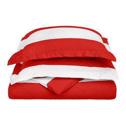 """Cotton Rich 600 Thread Count Cabana Kids Duvet Cover Set - Full/Queen - Red - This Cotton Rich Duvet Cover set features bright cabana colors and child friendly sizes. Our 600 Thread Count Cotton Rich Cabana Kids Duvet Cover Set is a superior quality blend of 55% Cotton and 45% Polyester making these duvets soft, wrinkle resistant, and easy to care for. Set includes: Duvet Cover: 90"""" x 92"""" and Two Pillow Sham: 20"""" x 26""""."""